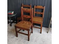 Set of Georgian chairs, antique chairs, dining chairs, vintage chairs, 3 wooden chairs