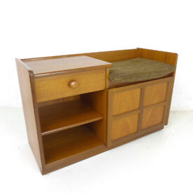 Mid Century Telephone Seat /Hallway Table by Nathan/Parker Knoll Vintage/Retro Teak Cabinet/Cupboard