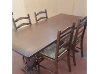 OAK REFECTORY TABLE & 4 LADDER BACK CHAIRS