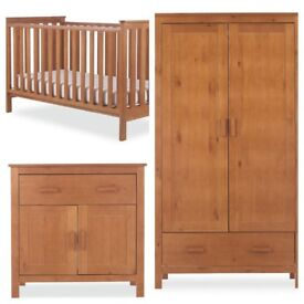 Mothercare Wooden cot/bed, wardrobe and changing unit set