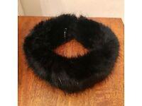 Jet Black Faux Fur Huff - Helen Moore