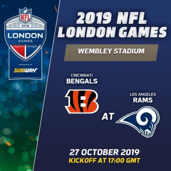 NFL INTERNATIONAL SERIES 2 x LEVEL 2 SEATS (BLOCK 210 ROW 11) CINCINNATI BENGALS v LOS ANGELES RAMS for sale  Wembley, North West London