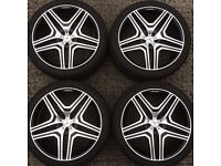 Mercedes ML 22 inch alloy wheels & Tyres Black Polished 285 x 35 x 22 excellent tyres 5x112 stud