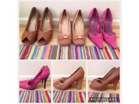 3 pairs of women's size 6 heels pink block Stiletto shoes bundle party work