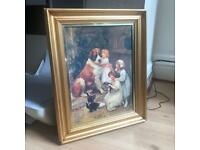 Paint with golden wooden frame.large size