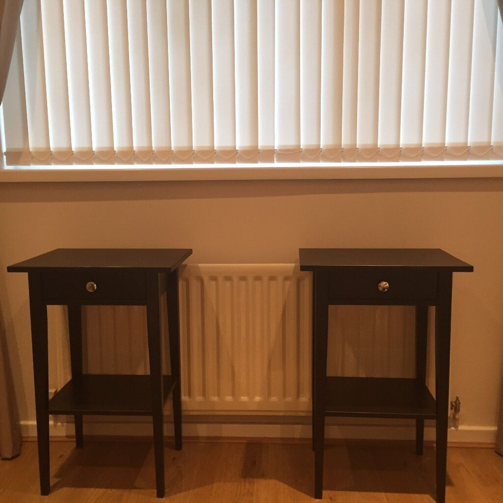 Pair of black brown dark wood tall bedside tables side for Black wood side table