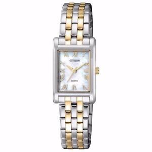 New Citizen Womens MOP Two Tone Stainless Steel Rectangular Watch EJ6124-53D