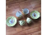 Vintage retro yellow/22Kt gold imperial China tea set