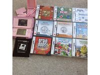 Pink Nintendo DS Lite, 8 games and accessories