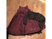 Girls dress and cardy, pretty purple dress and sparkly back cardigan age 3/4 years