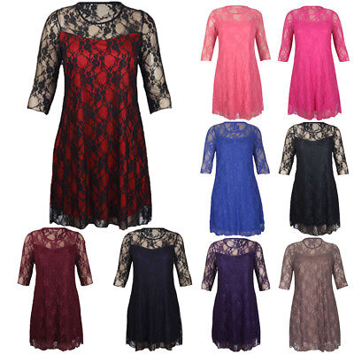 Ladies Women's Floral Pattern Lace Lined 3/4 Sleeve Stretch Fit Evening Dress