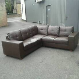 Brown leather effect L shaped sofa