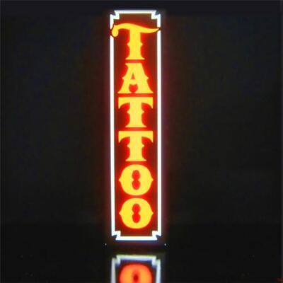 New Led Tattoo Shop Parlor Orange Vertical Sign Light Box Neon Alternative