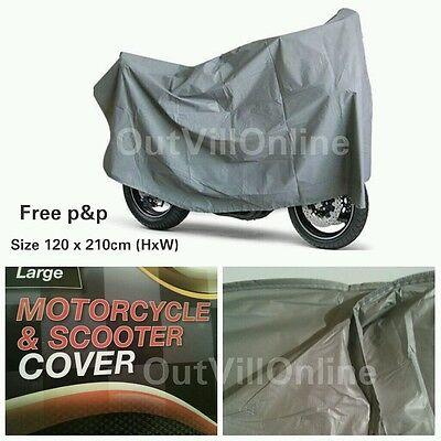 Outdoor Motorcycle Waterproof Motorbike Rain Vented Bike Moped Sun Cover Silver