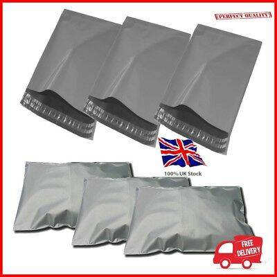 Offer 1000x Grey Plastic Poly Mailing Bags 230 x 310 mm 9 x 12 9x12 uk stock A4