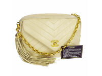 Authentic Vintage Chanel Beige Chevron Lambskin Camera Bag Shoulder/Crossbody