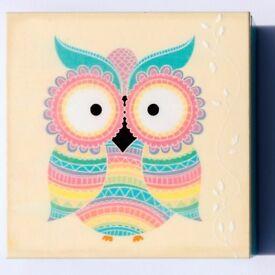 PERFECT GIFT NEW STORAGE OWL WOOD BOX HANDMADE DECUPAGE