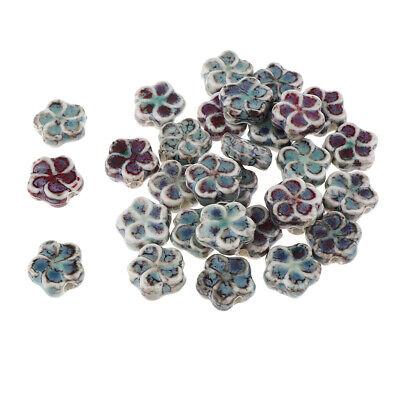 30Pcs Flat Flower Ceramic Spacer Loose Beads Porcelain Charms DIY 13x13x3mm 3' Loose Flat Ceramic