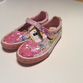 Brand new sparkle girls pink shoes with labels on size 12