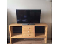 Stylish Wooden TV Table/Sideboard/Cabinet With 3 Drawers & Glass Shelves