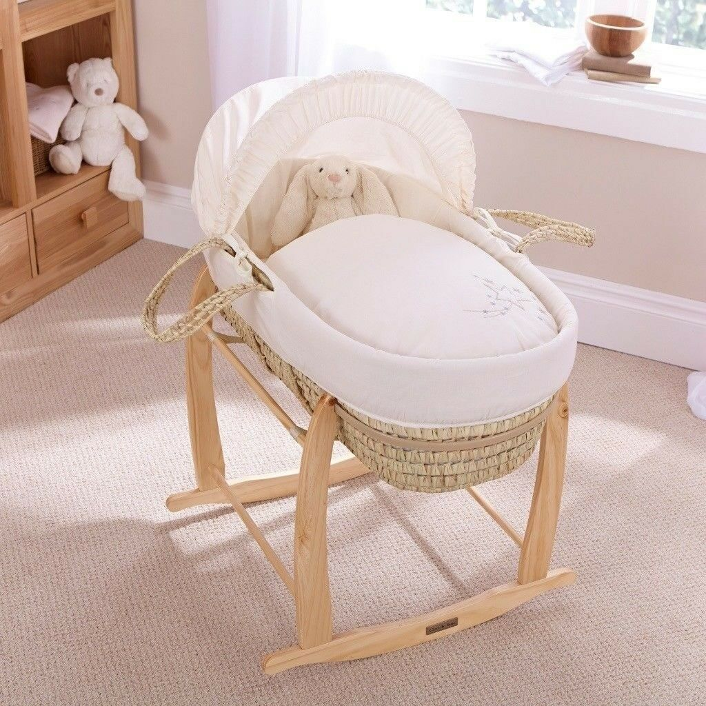 Brand New Clair De Lune Palm Moses Basket with Rocking Stand & Spare Mattress***RRP £115.96***