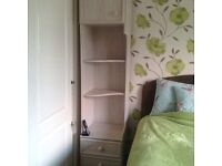 Bedroom furniture dressing table with drawers and bedside cupboards with shelves