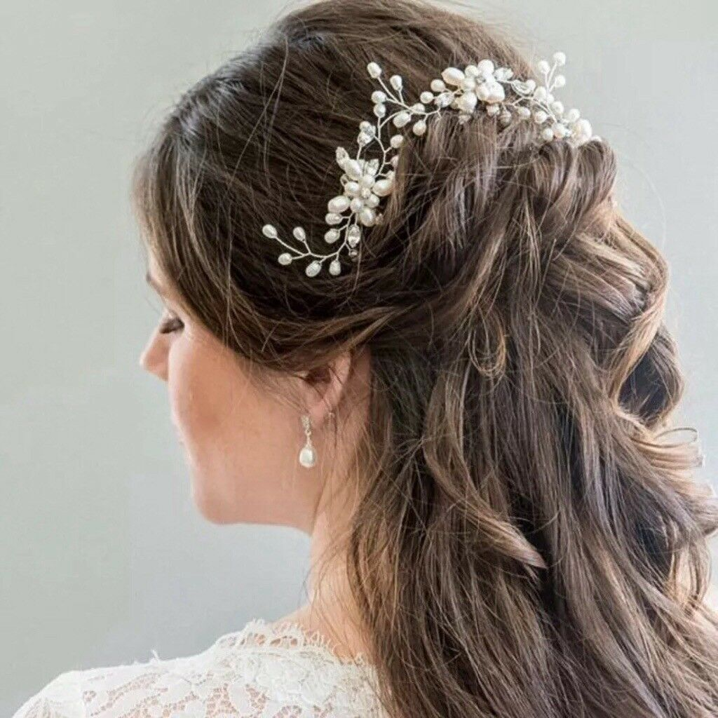 pretty bridal wired pearl flower hair pins / hair vine / bridesmaid