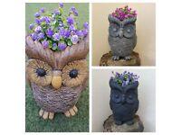 Owl planter, plant pot, Owl garden ornament