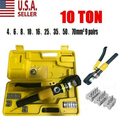 10 Ton Hydraulic Wire Battery Cable Lug Terminal Crimper Crimping Tool Us New