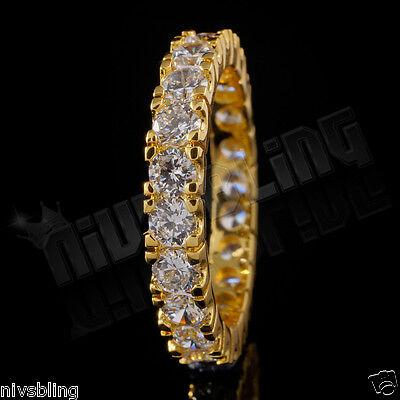 18K Yellow Gold Wedding Engagement Eternity CZ Women Ladies