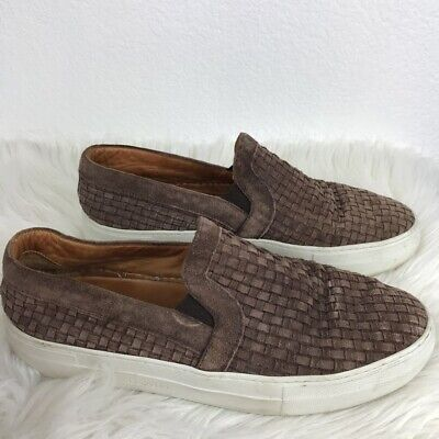 Armando Cabral Mens Weaved Brown Slip-on Shoes Suede Leather Loafer 9