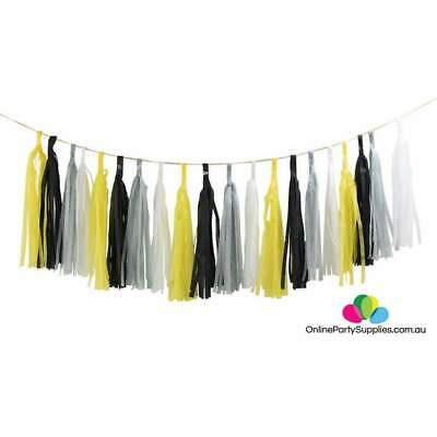 Halloween Tissue Paper Garland (Black Yellow Grey Tissue Paper Tassel Garland Kit Halloween Birthday)