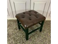 Chesterfield Stool Dark Brown Leather