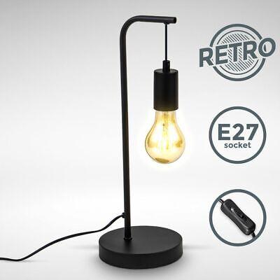 LED Lámpara De Mesa Vintage Decorativa Retro Cama Salón Negro E27