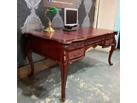 Stunning Chesterfield Louis Double Sided Partners Desk with Leather Top - UK Delivery