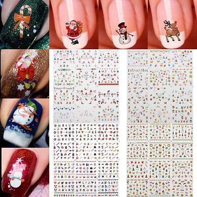 12 Sheet Christmas 3D Nail Art Stickers Snowflakes & Cute Snowmen Nail Decals HQ