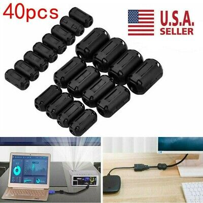 40x Clip-on Ferrite Ring Cable Clips Core Emirfi Noise Suppressor Filter Beads