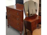 1930s dressing table & bureau chest of drawers cabinet
