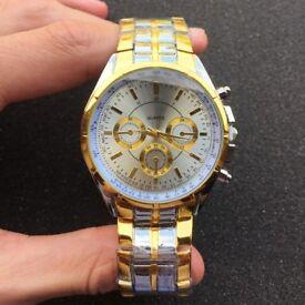 Men's Luxury Gold Stainless Steel Quartz Round Modern Business Wrist Watch