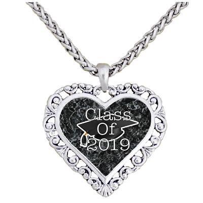 Graduation Hat Class of 2019 Silver Heart Necklace Pendant Jewelry Senior Gift](Graduation Necklaces)