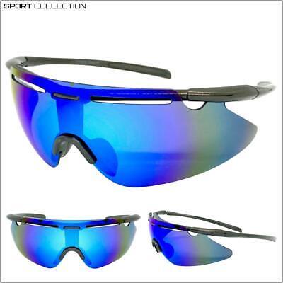 Hombre Deporte Envoltura Ciclismo Equitación Gafas de Sol Protector Lente Azul