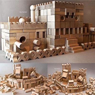 220 XL Holzbausteine Bauklötze Buche Natur Holz Holzklötze Groß für Festung NEU