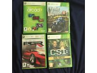 Xbox 360 games CSI and arcade left