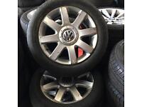 """16"""" GENUINE VW GOLF MK5 ALLOY WHEELS TYRES 5x112 CADDY"""