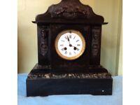 Vintage slate and marble mantle clock