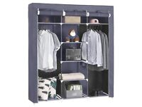 Songmics Canvas Wardrobe Bedroom Furniture Cupboard Clothes Storage Organiser Gray 175 x 150 x 45 cm