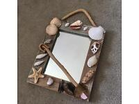 Beachy seashell decorated framed small mirror