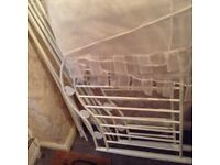Four poster single white metal bed with mattress