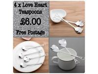 Set of four love heart teaspoons NEW