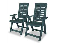 Reclining Garden Chairs 2 pcs Plastic Green-43896